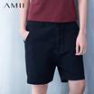 Amii[极简主义]春夏女吊裆双排扣宽松大码休闲中裤女11640979