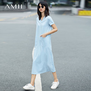 Amii[极简主义]夏装2017新款女百搭显瘦休闲V领T恤连衣裙11762111