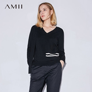 Amii[极简主义] 2017秋装新款直筒V领飘带撞色条纹毛衣11734576