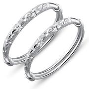 银晶灵 宝宝纯银手镯 儿童手镯婴儿银饰品990足银镯子 母子同心银镯子 送妈妈礼物