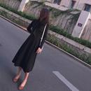 秋冬新款女装韩版加厚学生长袖打底连衣裙a字过膝长裙复古小黑裙