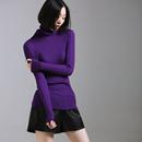 米可可  Z5200 文艺修身多色高领堆堆领含羊毛打底针织衫女 秋冬