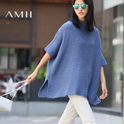 Amii[极简主义]2016秋女新纯色针织小高领落肩袖宽松毛衣11681767