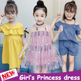 2019 Girl Princess dress Suits / Tops + shorts Set / Sport Casual School Pattern / Kids Fashion