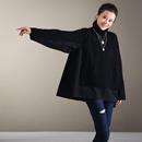 M8795  文艺减龄拼接毛织假两件上衣宽松显瘦高领毛衣女2019新款米可可