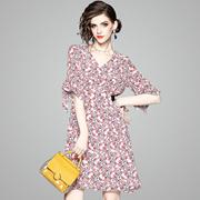 2018夏季时尚新款女装系带修身显瘦A字裙欧美真丝印花气质连衣裙