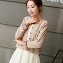 春装开衫女短款针织衫韩版小外套圆领长袖女装外搭上衣薄2017新款