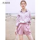 Amii极简帅气法式休闲短裤女2019夏季新款配腰带显瘦收腰A字裤子