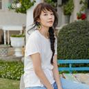 茵曼夏装纯色圆领抽绳收腰蝙蝠袖短袖莫尔代T恤基本款1882022151