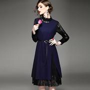 2016秋冬季新款时尚套装圆领长袖蕾丝修身背心连衣裙女优雅两件套