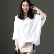 米可可  C1820 文艺大码捏摺七分蝙蝠袖套头纯色薄衬衫女 2018夏
