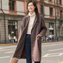 茵曼2018秋装新款文艺范格纹双排扣厚实保暖长袖外套女1883061407