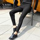Amii[极简主义]2016冬新款修身百搭弹力加绒加厚打底裤女11643567