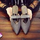 拖鞋女夏时尚外穿尖头平底懒人鞋包头半拖鞋气质凉拖鞋穆勒鞋凉鞋季