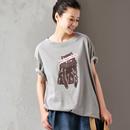 米可可 T9099 文艺大码印花字母撞色纯棉灰色洋气短袖T恤女2019