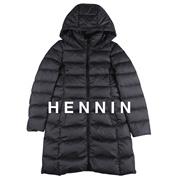 【HENNIN】女士超轻量长款腰带羽绒服 鸭绒服 冬季新款 象牙白|浅粉色|浅蓝色|黑色||四色可选|bactory|100%专柜正品 HEJD74TW02