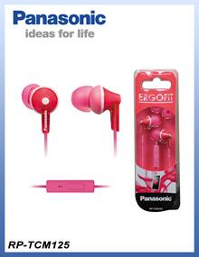 松下RP-TCM125-P立体声耳道耳朵Ergofit耳机+ MIC / RP-TCM125粉红色[T