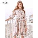 Amii极简仙气法式少女连衣裙女2019夏季新款碎褶绑带大摆印花裙子