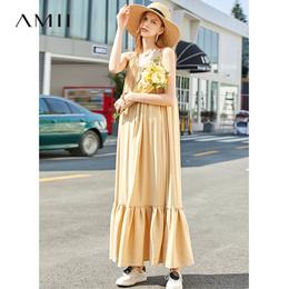 Amii极简仙气法国海边度假连衣裙女2019夏季新款交叉肩带吊带裙子