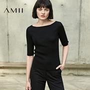 Amii[极简主义]2017春装新款女装一字领中袖修身毛针织T恤打底衫