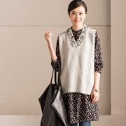 Q7732A 韩版亮片针织背心中长款雪纺碎花裙两件套 新冬【米可可】