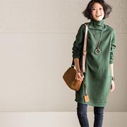 【包邮】 Q9203A 复古显瘦侧扣拼接中款高领连衣裙女 2016