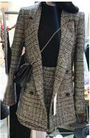 【ME2YO】2017千鸟格西装外套秋冬季套装两件套风套装裙子
