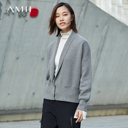 Amii[极简主义]翻领毛衣外套女2017冬装新款落肩袖金属暗扣开衫