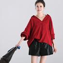 米可可  C7797文艺大码半开领chic纯色宽松荷叶袖打底女衬衫18秋