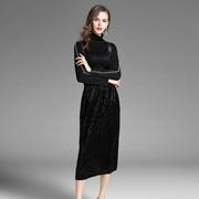2017秋冬女装新款半高领钉珠针织衫+中长款丝绒背带裙套装两件套