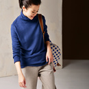 米可可 R5515 文艺大码高领素款修身百搭舒适打底卫衣女 2019春