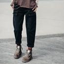 N2195 文艺宽松兜盖设计黑色显瘦直筒垮裤工装牛仔裤女2019新款米博亚亚博娱乐