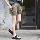 米可可 K2029 韩版捏褶高腰宽腿直筒纯棉工装休闲短裤女 2019夏
