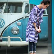 米可可 T8010 文艺大码圆领横条纹蝙蝠袖中长款T恤女 2018夏新