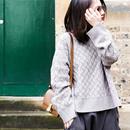 米可可  M1520 通勤织花高领100%羊毛宽松加厚纯羊毛针织衫女 冬
