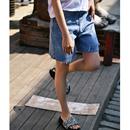 米可可 N7667 韩版大码做旧破洞毛边修身五分牛仔短裤女 2019夏