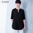 Amii[极简主义]春夏新女百搭大码宽松中袖弧摆雪纺衫11670758