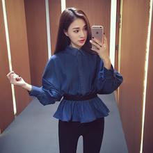 秋季新款2016韩版收腰牛仔衬衫女外套薄纯色POLO领长袖打底衫上衣