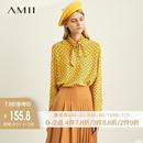 Amii极简chic风心机港味衬衫2019秋季新款绑带黄色印花雪纺衫上衣