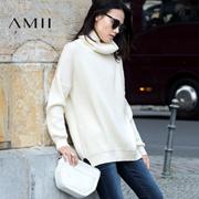 Amii2016冬新品宽松高领落肩开衩休闲毛衣女装11683589