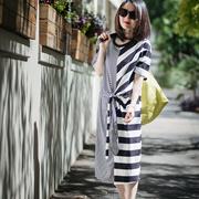 米可可 Q116 文艺大码圆领条纹拼接宽松中长款连衣裙女 2018春