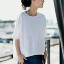 米可可 T8811 文艺大码圆领五分落肩袖拼接宽松白T恤女 2018夏