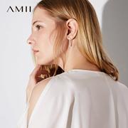 Amii[极简主义] 2017夏装新款时尚简约条形金属气质耳环11743692