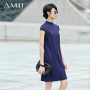 Amii[极简主义]2016夏新修身立领开衩中长裙休闲连衣裙女11671493