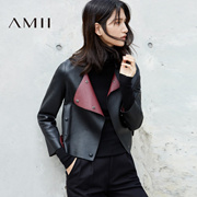 Amii[极简主义]双面头层绵羊皮 机车夹克皮衣女 撞色直筒圆领外套