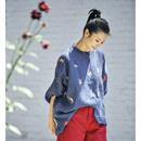 米可可 C2503 文艺刺绣立领蝙蝠袖宽松亚麻显瘦风格衬衫女 19夏