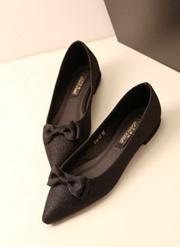 促销新款简约淑女款亮闪闪鞋面平底小单鞋蝴蝶结浅口套脚女鞋
