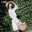 七格格蕾丝雪纺连衣裙2018春装新款韩版白色宽松显瘦v领松短款裙子女装