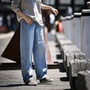 N7021 2019秋冬新款复古高腰阔腿牛仔裤女宽松直筒显瘦拖地长裤米可可