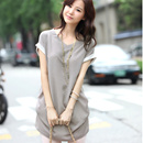 韓版夏裝純棉拼接女寬松大碼打底衫 中長款短袖t恤V領雪紡衫上衣